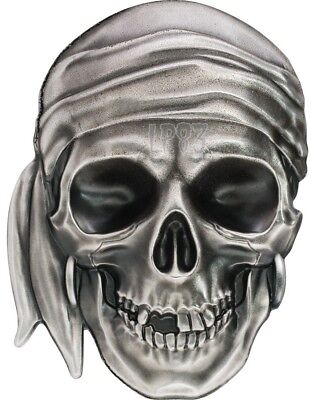2017 1 Oz Silver $5 PIRATE SKULL Antique Finish Coin - Palau..