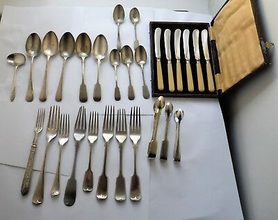 Antique Silver Plated Cutlery Forks Serving Spoons & Butter Knives Job Lot