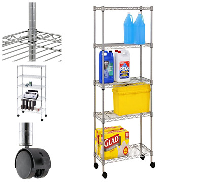 Mobile Wire Shelving 5 Tier with 2 Inch Nylon Casters,Easy to assemble. Silver