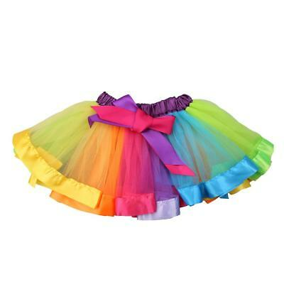 Colorful Casual Girl Infant Baby Children Rainbow Ballet Dance Ruffle Tutu Skirt