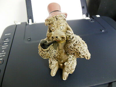 Vintage Thames Spaghetti Poodle Smoking Pipe Rhinestone Eyes Japan Dog Figurine