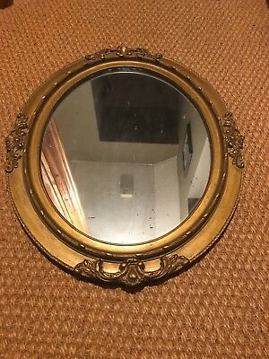 "vintage wooden oval gold mirror approx 30"" tall"
