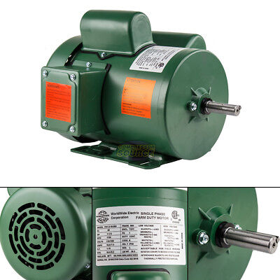 1.5 HP Single Phase Farm Duty Electric Motor 56H Frame 1800 RPM TEFC Enclosure
