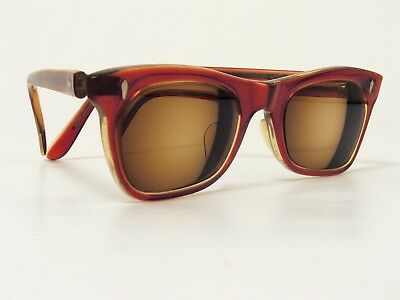 TRUE VINTAGE HE SUNGLASSES FRAMES RED-BROWN CLEAR ACETATE 1950/60s SMALL RARE