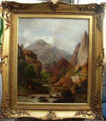 LARGE 19th Century ANGLERS IN HIGHLAND RIVER LANDSCAPE Antique Oil Painting