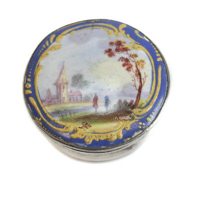 Continental Silver Plate and Hand Painted Porcelain Snuff Box, circa 1900