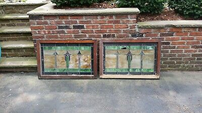 antique stained glass window pair