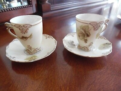 set of 2 Silesia  Old Ivory Demitasse or hot chocolate cup & Saucer Brown Rose