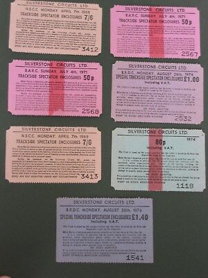 Motor Sports - 7 Silverstone Trackside Enclosure Tickets, 1969-1976