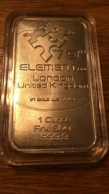 1oz 79th Element 999 Pure Silver Bullion Art Bar