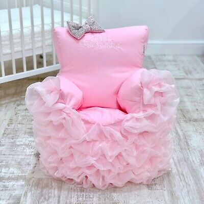 Childrens Kids Toddler Pre Filled Personalised Bean Bag Chair Seat Girls Bling