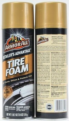 2 Armor All Detailer's Advantage Tire Foam Cleans Shines Protects 1 LB 2 oz
