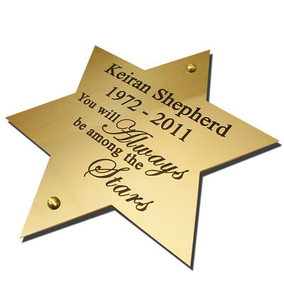 Solid Brass STAR shaped plaque 4 sizes Engraved