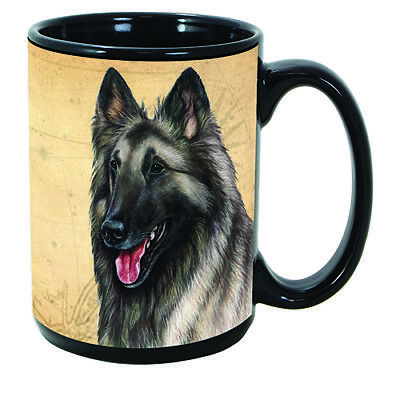 Belgian Tervuren Grey Faithful Friends Dog Breed 15oz Coffee Mug Cup
