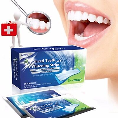 Advanced teeth whitening strips 2 weeks supply 28 strips 14 pouches UK SELLER