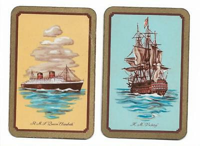 R.m.s.*Queen Elizabeth*= *H,M.s.*Victory*X 2 Only Sgl. Vintage Playing/Swapcard