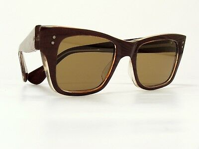 TRUE VINTAGE MEN'S SUNGLASSES BROWN METALLIC ACETATE 1950/60s GLASS LENSES RARE