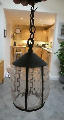 Arts & Crafts hand blown glass lamp light shade, hand forged metal frame cage