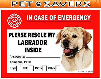 Labrador Yellow Pet Savers Emergency Rescue Window Cling Sticker