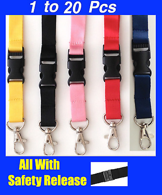 1-20 Lanyards with SAFETY Release Breakaway Clips Neck Strap for Badge ID HOLDER