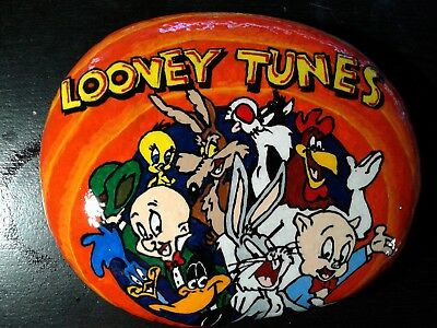 Huge Looney Tunes Group Original Hand Painted Rock Stone Art By Suzanne Foster