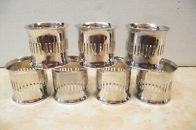 "Lot Of 7 Pierced Silverplate  Napkin Rings Made In Italy 1 5/8"" H X 1 1/2"" Dia"