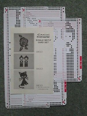 Knitmaster Knitting Machine Pattern Punched Cards - Rose, Twins, Cat