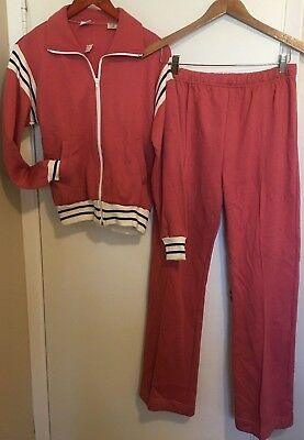 Vtg Wilson Brand 2 Pc Warm Up Track Suit Top & Pants Pink Womens M Acrylic Sears