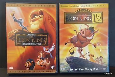 Disney Movies Lot of 2: The Lion King (2-disc Platinum Edition) &Lion King 1 1/2