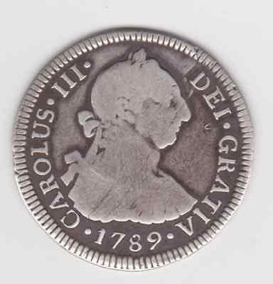 CHILE  1789  2 Reales Santiago Mint Chile Rarer Charles III  very scarce coin