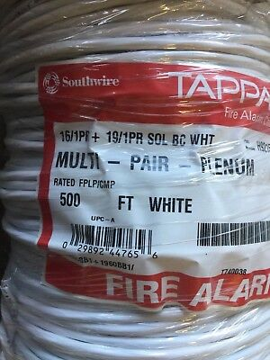 Southwire/Tappan H92153-1C 16/2+19/2 SOL BC Plenum Fire Alarm Cable/ White 500ft