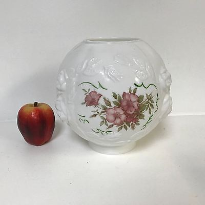 Antique Victorian High Relief Roses Milk Glass Globe Gone W the Wind Lamp Shade