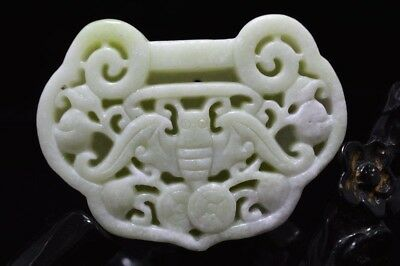 Collect Chinese natural old whitem Jade Carved Amulet Pendant 长命锁 bat 45