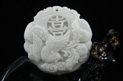 Collect Chinese natural old whitem Jade Carved Amulet Pendant Phoenix 25