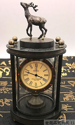 Asian collection of old handmade copper carved deer mechanical watch