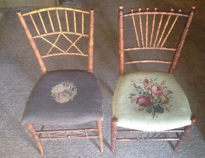 One Of A Kind!! Beautiful Antique 19TH Century WINDSOR Birdcage Chairs-Lot Of 2