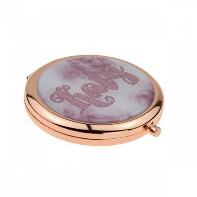 Rose Gold Plated Handbag Mirror with Personalised Name Design