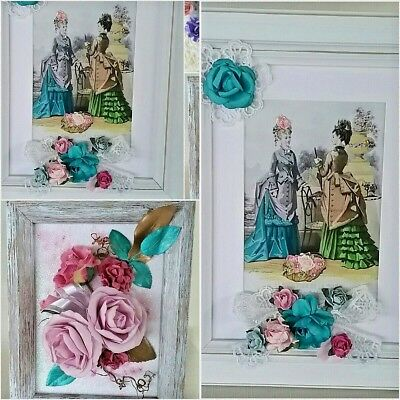 HANDCRAFTED ORIGINAL Mixed Media 3D Floral Garden Framed Collages