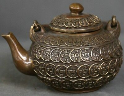 Chinese Ancient Dynasty Palace Bronze Brass Copper Engraving Coin Tea Pot Flagon