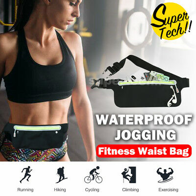 Waterproof Waist Running Pocket Zip Belt Bum Bag Hiking Jogging Travel Pouch AU
