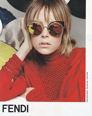 2015 Fendi designer fashion sunglasses print ad Model Stella Maxwell