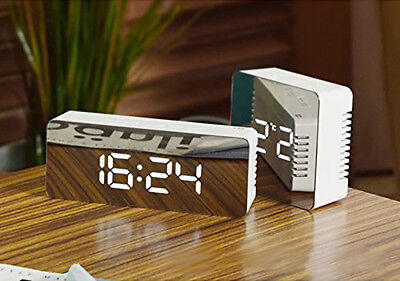 Modern Digital LED Snooze Alarm Clock Time Temperature Night Mode Mirror HOT