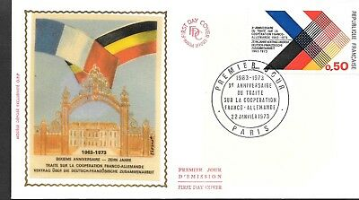 FR162 France 1973  10TH ANNIV CORPERATION FRANCE AND GERMANY  SILK  FDC $4.00