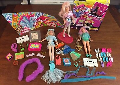 Vintage Jem and the Holograms lot, Starstruck Guitar, Video Madness, Shoes