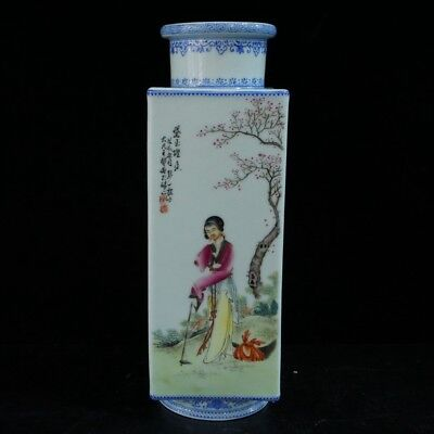 Chinese Exquisite Handmade Ancient beauty flowers pattern porcelain vase