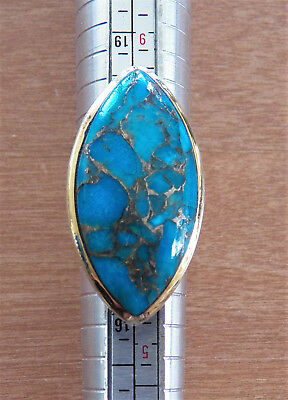 Nice Old Sterling Silver Ring With Turquoise - 925 Gilded -