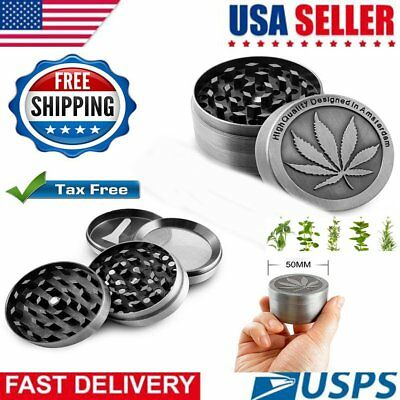 Tobacco Herb Grinder Spice Herbal Alloy Smoke Crusher 4 Piece Metal Chromium US