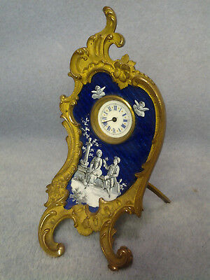 "Sweet 4 1/2"" High Guilloche and Painted Enamel Rococo Desk Clock"