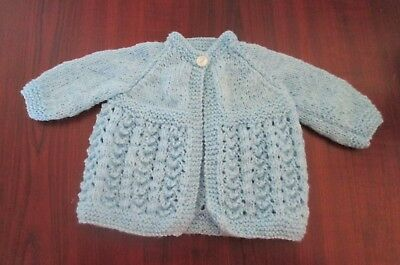New Hand Knitted Prem/ very small Baby Cardigan (will also fit a 14 inch doll)