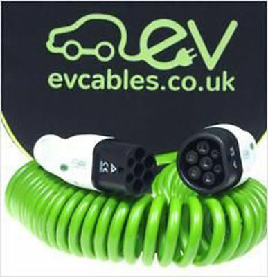 EV Charging Cable, Mennekes Type 2 to Type 2, 32 Amps 3-PHASE - COILED GREEN